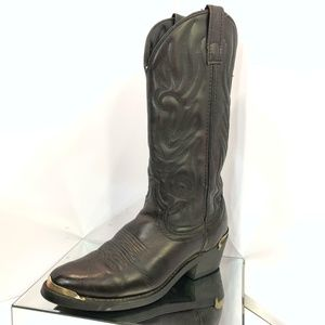 Size 7 Leather Pull On Metal Toe Western Boots